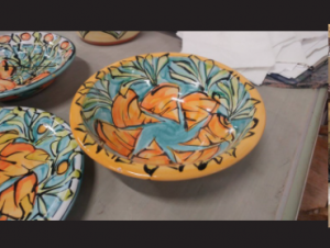 duluth pottery with orange and blue tones