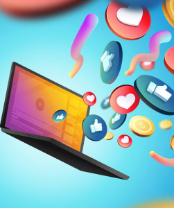 abstract image of laptop with social media thumbs up and heart icons